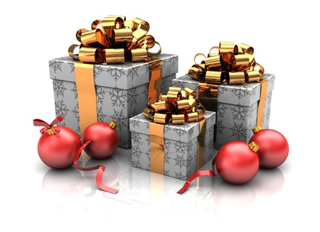 Group of christmas gifts with red balls, 3d image Stock Photo - 16290934