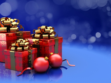 Christmas decoration  presents with red balls over blue lights Stock Photo - 16290955