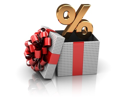 3d illustration of present box with percent sign inside illustration