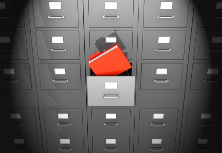 file cabinet: Grey office wall of files with red folder in front
