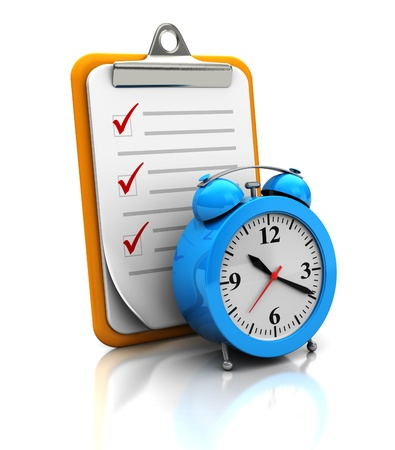 tasks: Clipboard with clock on white background, 3d image