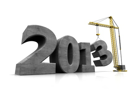 Number of new year with crane holding three Stock Photo - 16290870