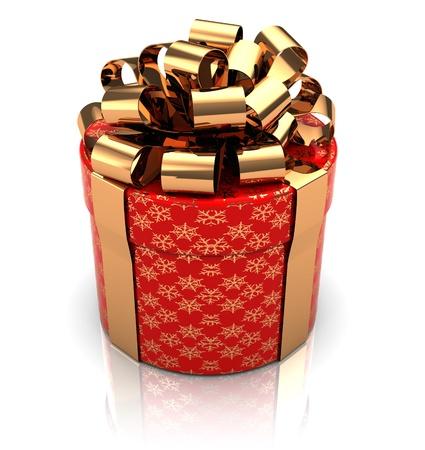closed ribbon: 3d illustration of gift box, cylinder shaped Stock Photo