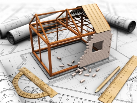 architect plans: House project with model, pencil and rules Stock Photo