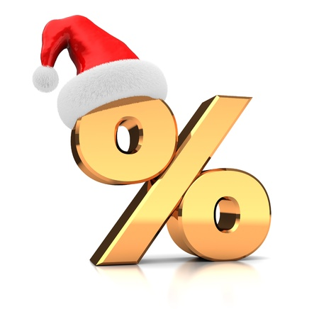 Symbol of percent with hat santa claus isolated on white background Stock Photo - 16291001