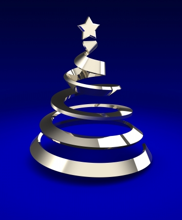 silver christmas: Metallic christmas tree over blue background, 3d image Stock Photo