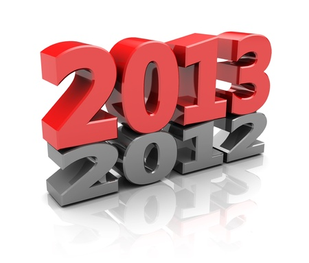 Red 2013  over grey 2012, new year concept Stock Photo - 16291007