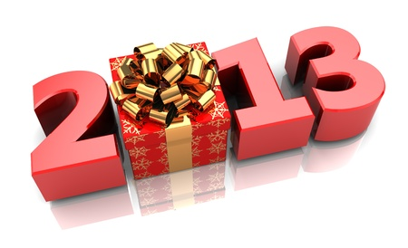 Red 2013 with present box, new year concept Stock Photo - 16291012