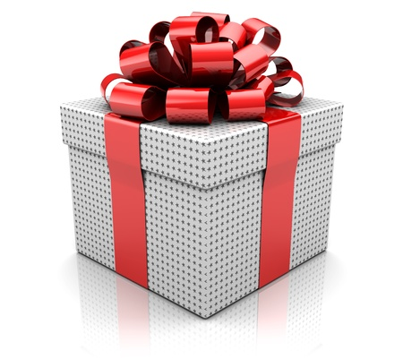 Christmas present isolated on white background, 3d image photo