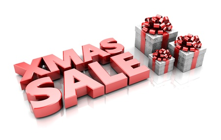 Presents with text xmas sale, 3d illustration Stock Illustration - 16291009