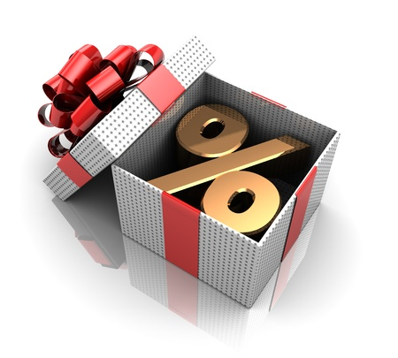 New year opened gift, 3d image Stock Photo - 16291014