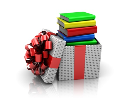 3d illustration of xmas present box with books Stock Photo