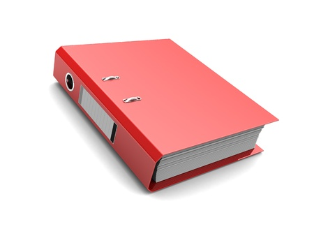 binders: Red folder with documents inside isolated on white background
