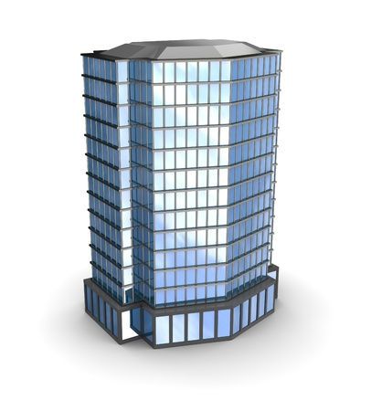 Business city over white background, 3d illustration     Stock Photo