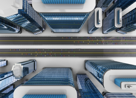 window view: 3d illustration of top view of city with roads and cars traffic Stock Photo