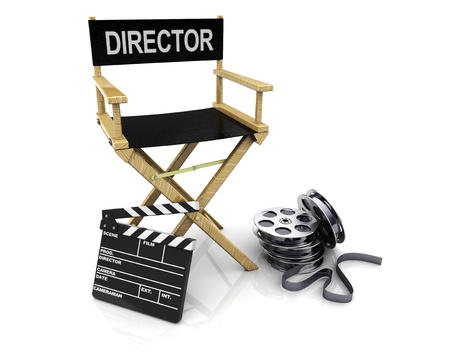film director: 3d illustration of director chair with clapboard and film reels Stock Photo