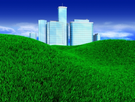 3d illustration of green meadow with modern city at horizon illustration