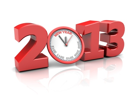 Red number 2013 with clock, new year concept
