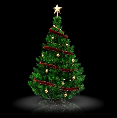 3d illustration of christmas tree over black background illustration