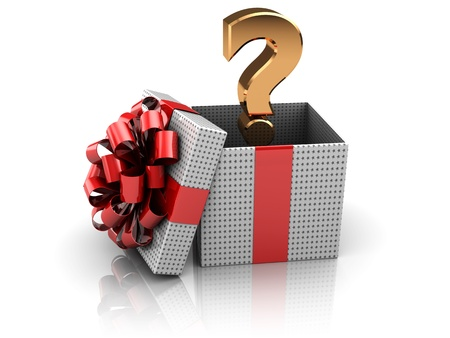 3d illustration of gift box with question mark inside illustration
