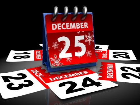calender: 3d illustration of calendar with 25 december page open Stock Photo