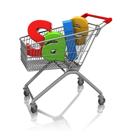 Word sale in cart shopping, 3d image Stock Photo - 16543095