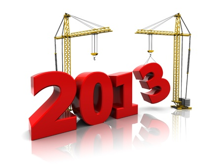 3d image, development concept: 2013  with cranes Stock Photo