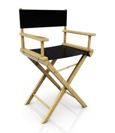 silla de madera: Ilustraci�n 3D de la silla de director de cine, sobre fondo blanco Foto de archivo