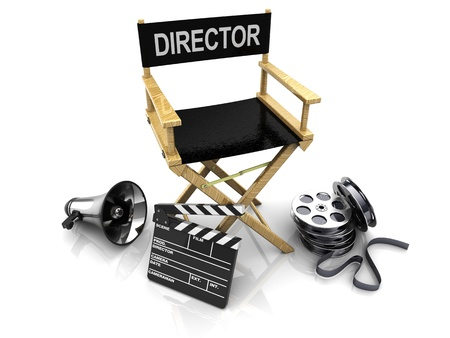 3d illustration of director chair, and over filmmaker equipment, over white background illustration