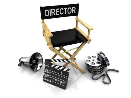 board of director: 3d illustrazione di sedia da regista, e rispetto agli equipaggiamenti di regista, su sfondo bianco Archivio Fotografico