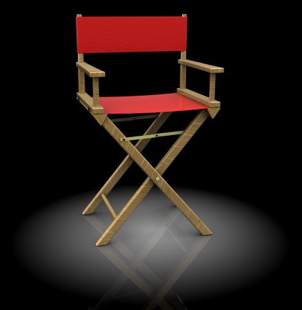 directors cut: 3d illustration of director chair, red color, over black background Stock Photo