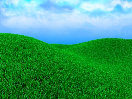 3d illustration of green meadow and blue sky illustration