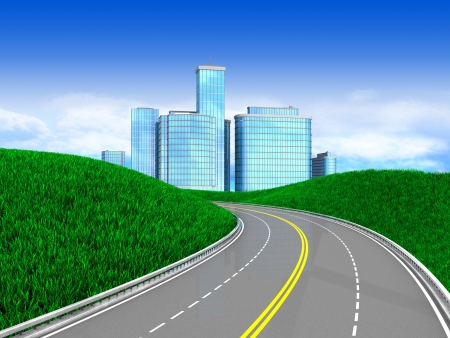 accomodation: 3d illustration of green meadow with road to modern city