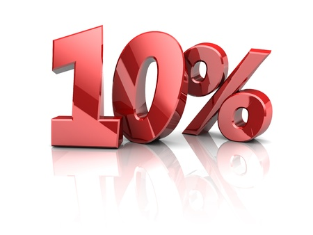 3d illustration of 10 percent sign, over white background Stock Photo