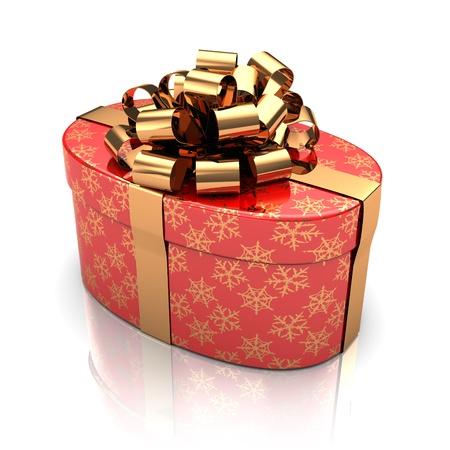 3d illustration of rounded present box, over white background Stock Illustration - 16543106