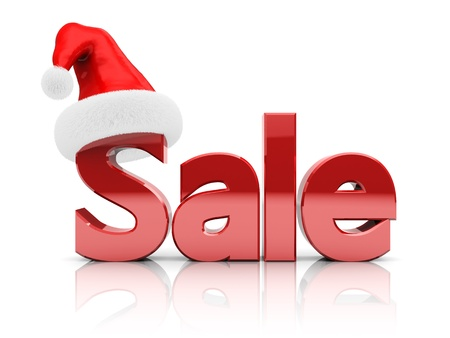 3d illustration of sale sign with christmas hat illustration