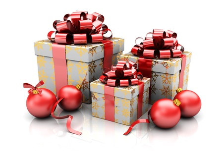 Group of xmas presents with red balls, 3d image Stock Photo - 16543113