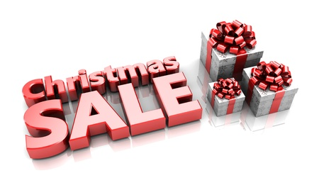Presents with text Christmas sale, 3d image Stock Photo - 16543099