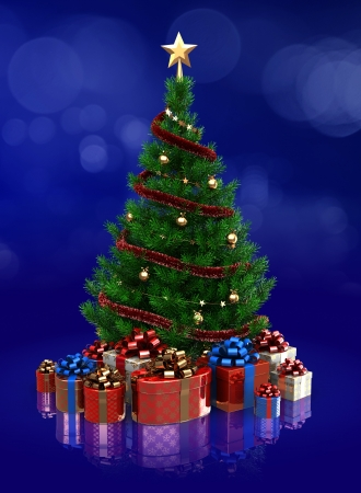 3d illustration of xmas tree over blue background illustration
