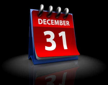 31: 3d illustration of page calendar with 31 december