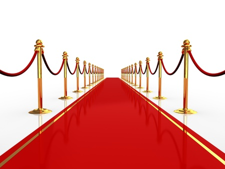 entrance: 3d illustration of red carpet over white background