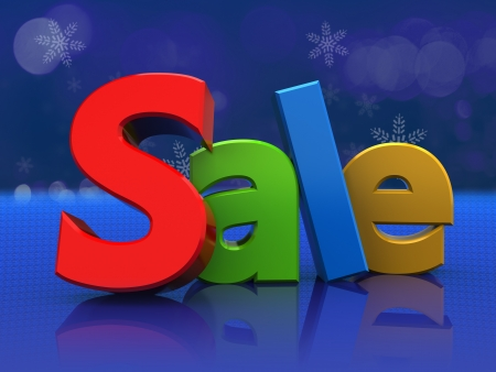 3d illustration of colorful sign sale, over blue background illustration