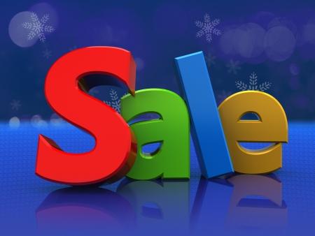 3d illustration of colorful sign sale, over blue background Stock Illustration - 16667768