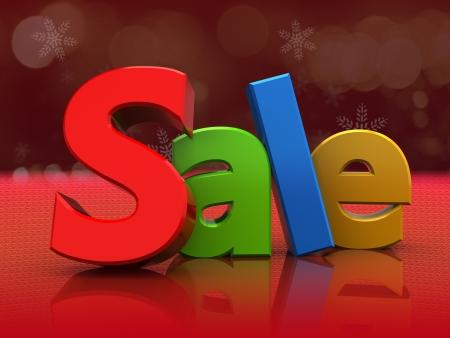 3d illustration of colorful sale sign over red background Stock Illustration - 16667770