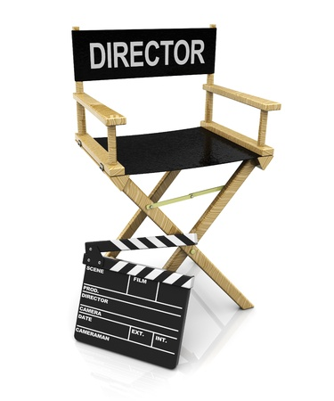 directors: 3d illustration of director chair with clapboard, over white background