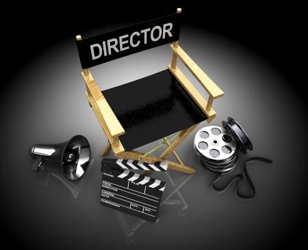 board of director: 3d illustrazione di apparecchiature cinematografiche fare, su sfondo nero Archivio Fotografico