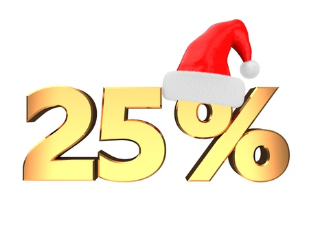 25: 3d illustration of 25 percent discount sign with christmas hat, isolated over white background Stock Photo