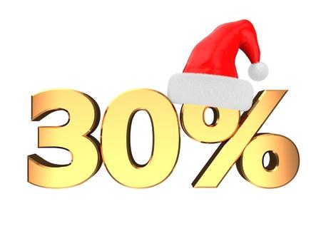 3d illustration of christmas sale sign, 30 percent discount illustration
