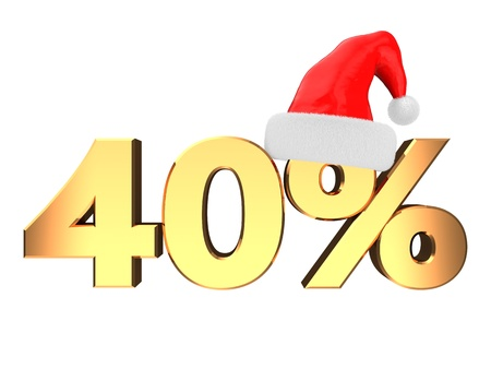 3d illustration of forty percent christmas discount sign, isolated over white Stock Illustration - 16667738