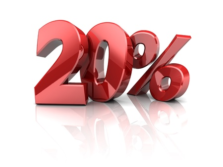 3d illustration of twenty percent symbol